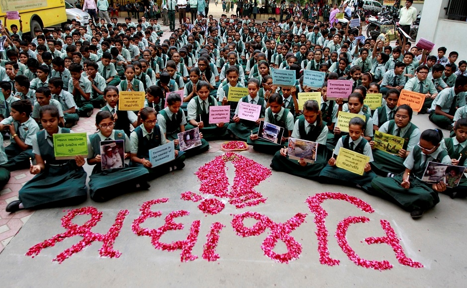 In Ahmadabad, students prayed for the victims of the Amarnath Yatra terror attacks. PTI