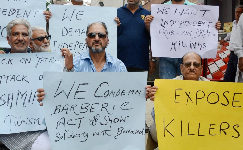 Members of civil society, trade and tourism organisations, journalists and separatists staged demonstrations in Srinagar against the attack. Travel agencies and hotels will suspend their business on Wednesday as a mark of protest. PTI