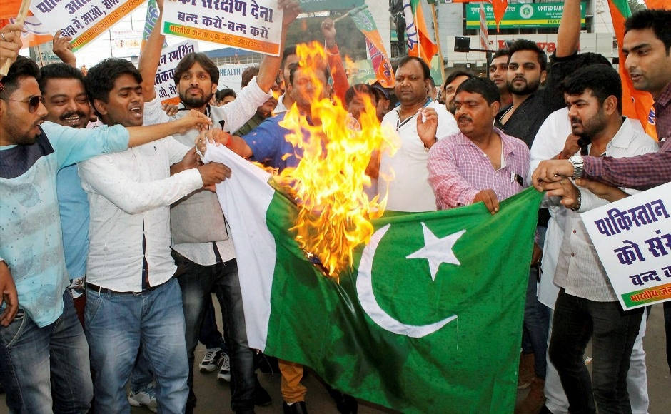 In Ranchi, Bharatiya Janata Yuva Morcha activists raised slogans condemning the attack as they burnt a Pakistani flag during a protest. PTI