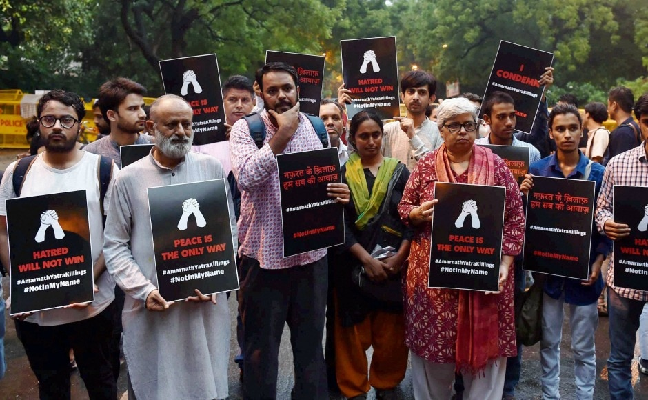 The 'Not In My Name' campaign held a silent protests at Jantar Mantar on Tuesday evening as they demanded for a peaceful India. PTI