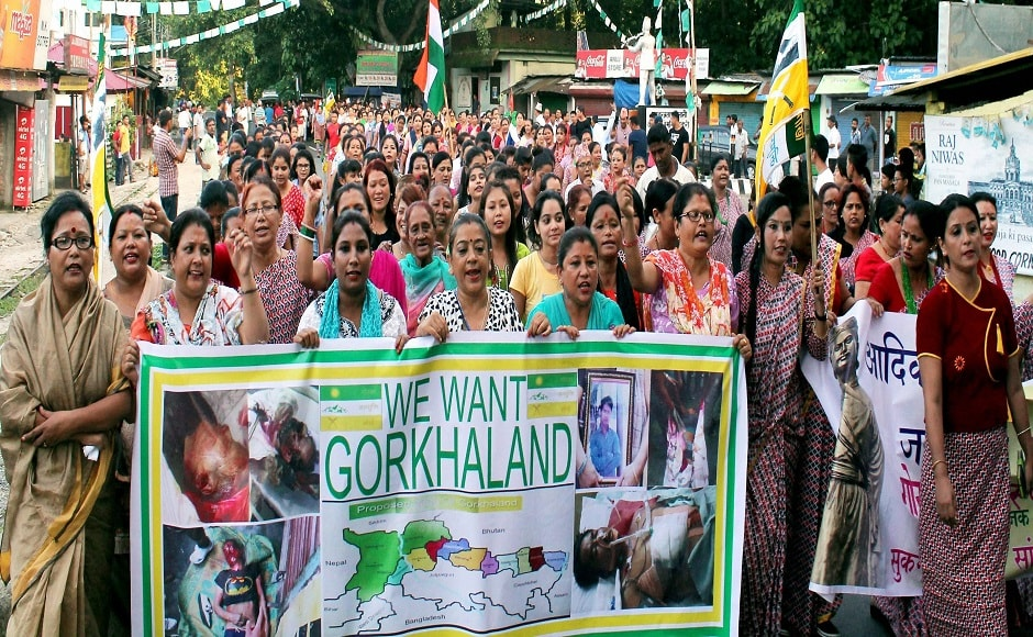 GJM supporters celebrated the birth anniversary of Nepali poet Bhanubhakta Acharya as 'Gorkha Jaati Ekta Diwas' and took out rallies carrying placards in favour of separate state of Gorkhaland. PTI