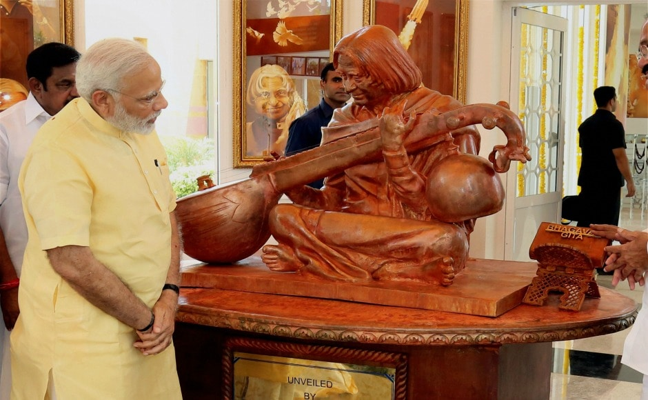 Narendra Modi during the occasion said that everybody should give a standing ovation to all those labourers who worked with immense dedication in building APJ Abdul Kalam memorial. PTI