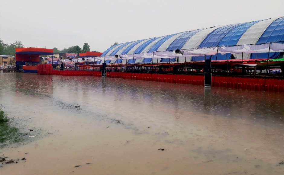 The incessant caused waterlogging at the venue of Uttar Pradesh Chief Minister Yogi Adityanath's public meeting near Varanasi on Sunday. PTI