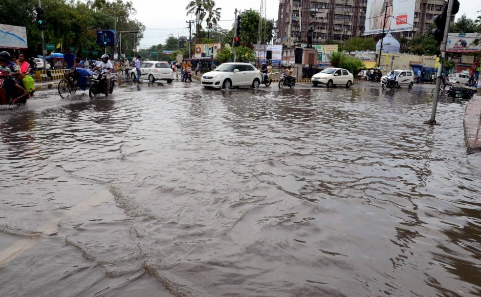 Several roads in Patna faced water-logging problems on Sunday after rains, causing much inconvenience to commuters. PTI
