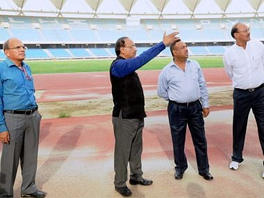 New Delhi: Minister of State for Youth Affairs and Sports (I/C), Water Resources, River Development and Ganga Rejuvenation, Vijay Goel during a visit to the Jawaharlal Nehru Stadium in connection with FIFA U-17 World Cup, in New Delhi on Wednesday. PTI Photo / PIB (PTI7_5_2017_000174B)