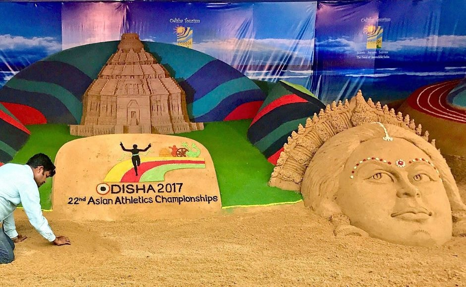 Sand artist Sudarsan Pattnaik created a sand sculpture for 22nd Asian Athletics Championships. PTI