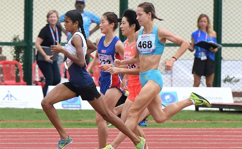 PU Chitra during the first round of the 1500M race at the Asian Athletics Championships. PTI