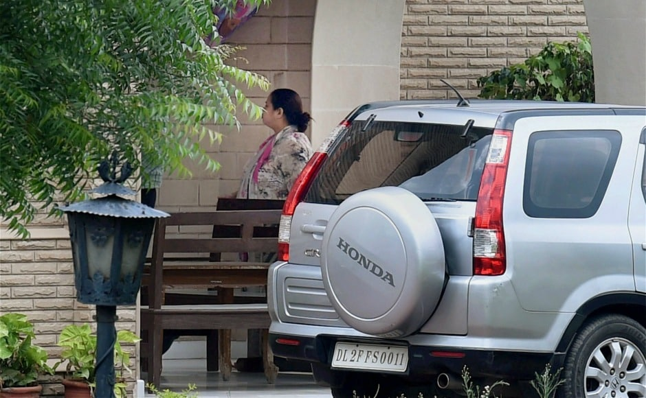 Misa Bharti outside her farmhouse in Ghitorni during a raid conducted by Enforcement Directorate (ED) officials, in New Delhi on Saturday. The raids were conducted in connection with a money laundering case against Bharti and her husband. PTI
