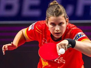 Petrissa Solja during her match against Tetyana Bilenko. UTT