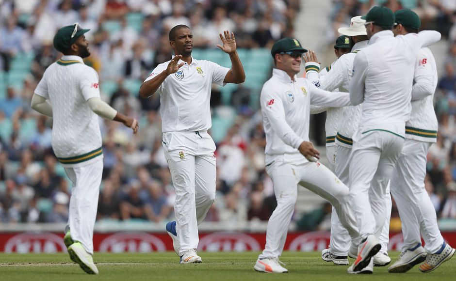 South Africa's Vernon Philander had a stomach bug but was still the pick of the bowlers. His figures were: 12-5-17-2. AP