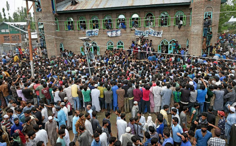 Three Hizbul Mujahideen militants were killed in a two-day-long encounter that had begun on Monday in Jammu and Kashmir's Pulwama district. People in Bahmoo village gathered up for the funeral procession of one of the militants, who hailed from the area. PTI