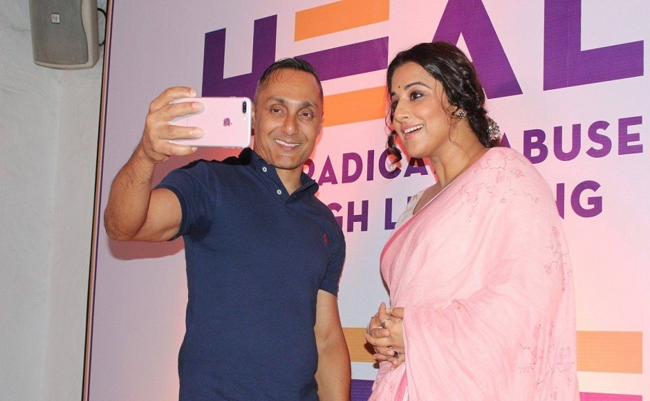 Bose clicking a selfie with Vidya Balan who was present during the launch of Bose's new NGO, HEAL in Mumbai. Image via Facebook