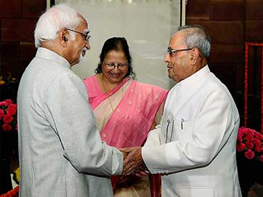 President Pranab Mukherjee being welcomed by Vice President Hamid Ansari and Lok Sabha Speaker Sumitra Mahajan on his arrival at Parliament for his farewell ceremony, in New Delhi on Sunday. PTI