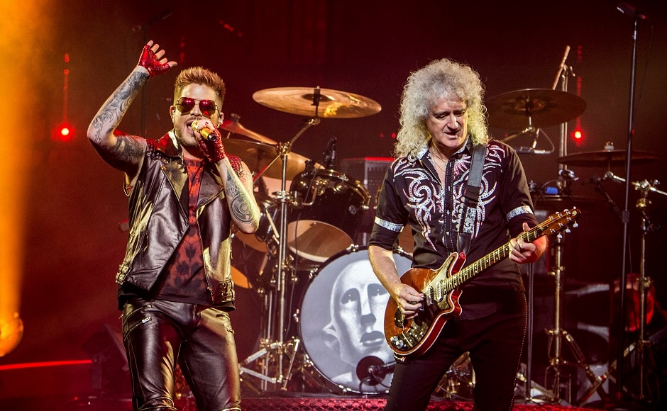 Adam Lambert, left, and Brian May of Queen. Photo by AP