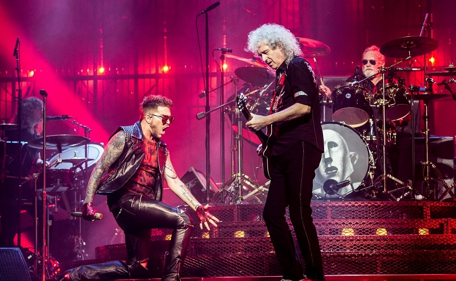 Adam Lambert, from left, Brian May and Roger Taylor of Queen perform at Queen + Adam Lambert at Barclays Center on Friday, 28 July, 2017, in in Brooklyn, New York. Photo by AP