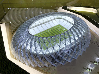 Qatar presents a model of its Al-Wakrah stadium as it bids to host the FIFA 2022 World Cup during the FIFA Inspection Tour for the country's bid, in Doha September 16, 2010. (QATAR - Tags: SPORT SOCCER WORLD CUP) - RTR2IEFG