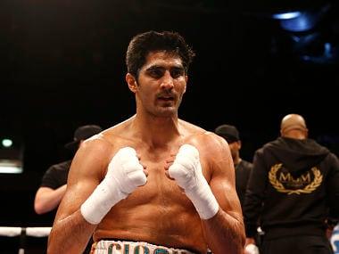 Britain Boxing - Vijender Singh v Matiouze Royer - Copper Box Arena, London - 30/4/16 Vijender Singh celebrates his win Mandatory Credit: Action Images / Peter Cziborra EDITORIAL USE ONLY. - RTX2CF1I