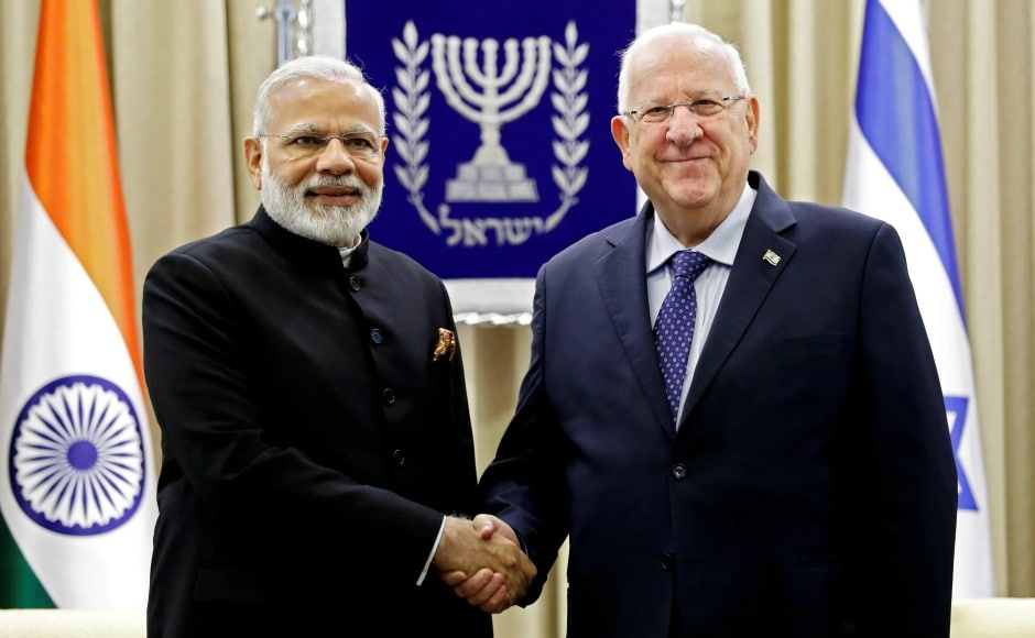 The meeting was held at the president's official residence where Modi stressed on the bilateral ties between the nations by saying, 'I for I, India for Israel and Israel for India.' Reuters