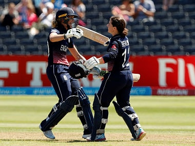 Cricket - England vs South Africa - Women's Cricket World Cup - Bristol, Britain - July 5, 2017 England's Tammy Beaumont (R) celebrates her century with Sarah Taylor Action Images via Reuters/John Sibley - RTX3A464