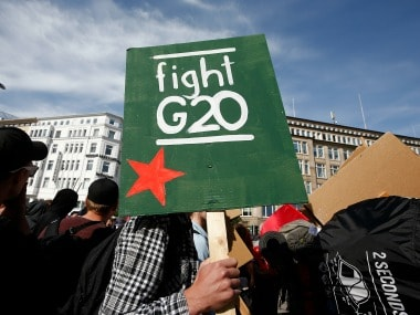 Demonstrators protest against the G20 Summit in Hamburg. Reuters