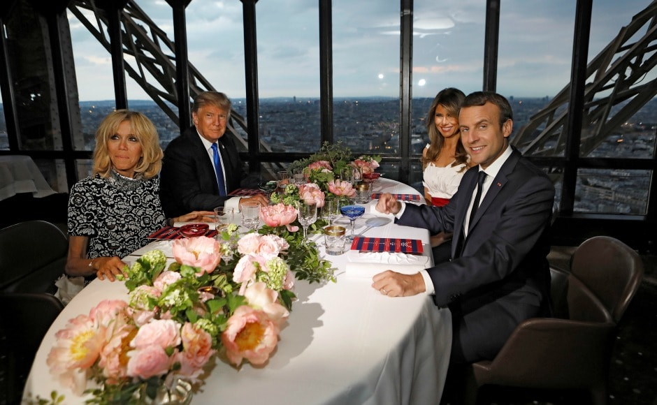 Macron and his wife also treated Trump and the first lady to a meal at Jules Verne restaurant on the second floor of the Eiffel Tower. Reuters
