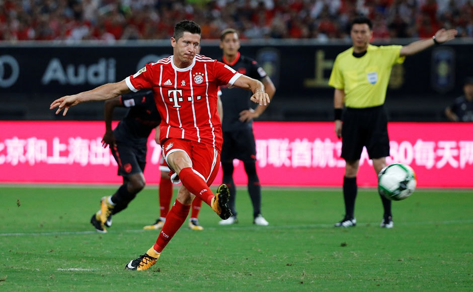 Bayern Munich's Robert Lewandowski scored the first goal of the International Champions Cup with a penalty. Reuters