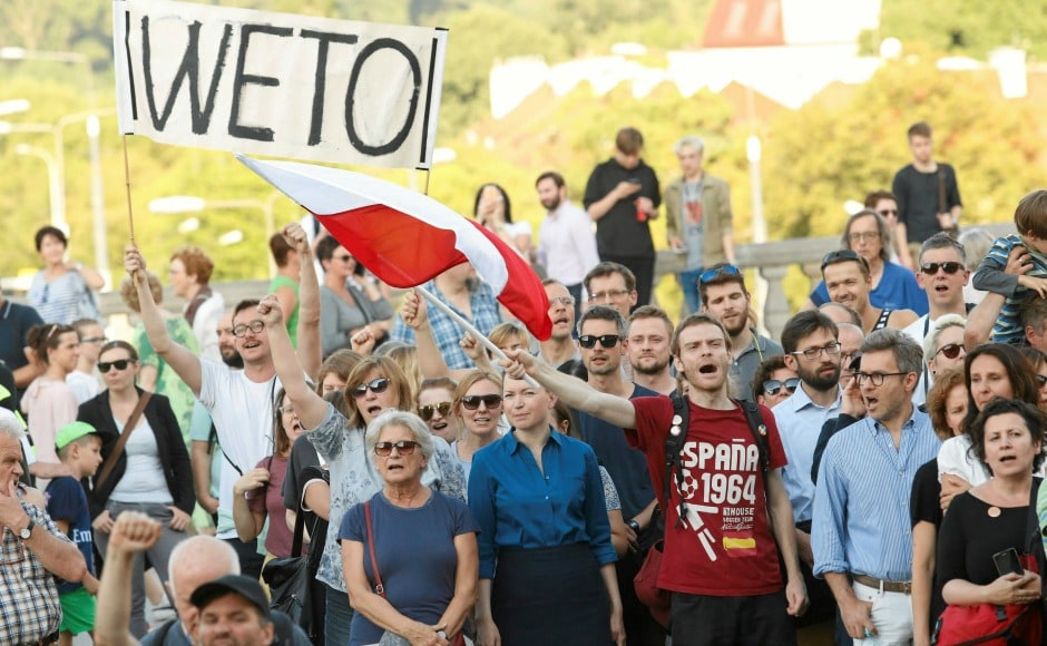 Thousands of protesters across the country took to the streets demanding President Andrzej Duda to veto the bills tabled in Parliament that would give him the power to influence the highest courts. AP