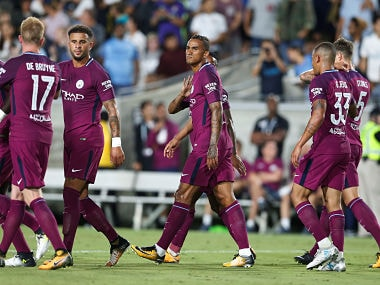 Soccer Football - Real Madrid vs Manchester City - International Champions Cup - Los Angeles, USA - July 26, 2017 Manchester City's Danilo celebrates a goal with team mates REUTERS/Lucy Nicholson - RTX3D2WQ