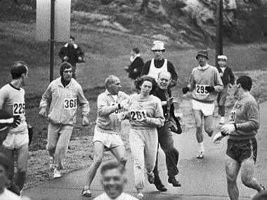 Organisers trying to pull Kathy Switzer out of the race. Getty