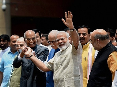 NDA's nominee for presidential election Ram Nath Kovind with Narendra Modi during his nomination. PTI