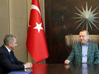 Turkey's President Recep Tayyip Erdogan meets with Russia's Defence Minister Sergei Shoigu in Istanbul. AP