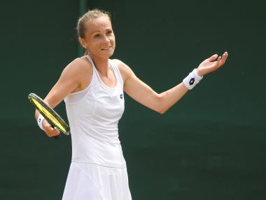 Tennis - Wimbledon - London, Britain - July 8, 2017 Slovakia's Magdalena Rybarikova reacts during her third round match against Ukraine's Lesia Tsurenko REUTERS/Toby Melville - RTX3AM7O