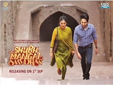 Ayushmann and Bhumi in Shubh Mangal Saavdhan first look. Image via Twitter.
