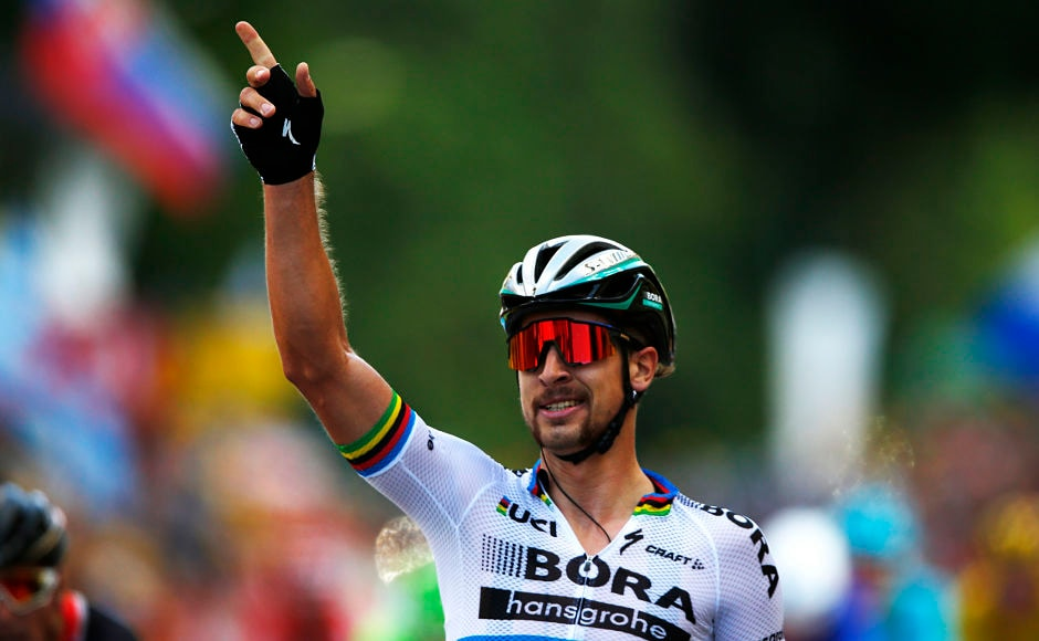 Peter Sagan of Slovakia celebrates as he crosses the finish line. AP