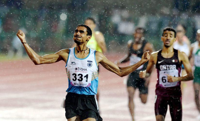 Ajay Kumar Saroj surprised everyone after winning the gold medal in men's 1500m. PTI