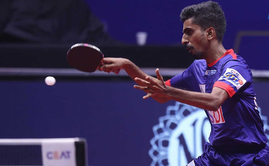 G Sathiyan got Dabang Smashers 2 valuable points against Li Ping. Image courtesy: Facebook/ @UltimateTableTennis
