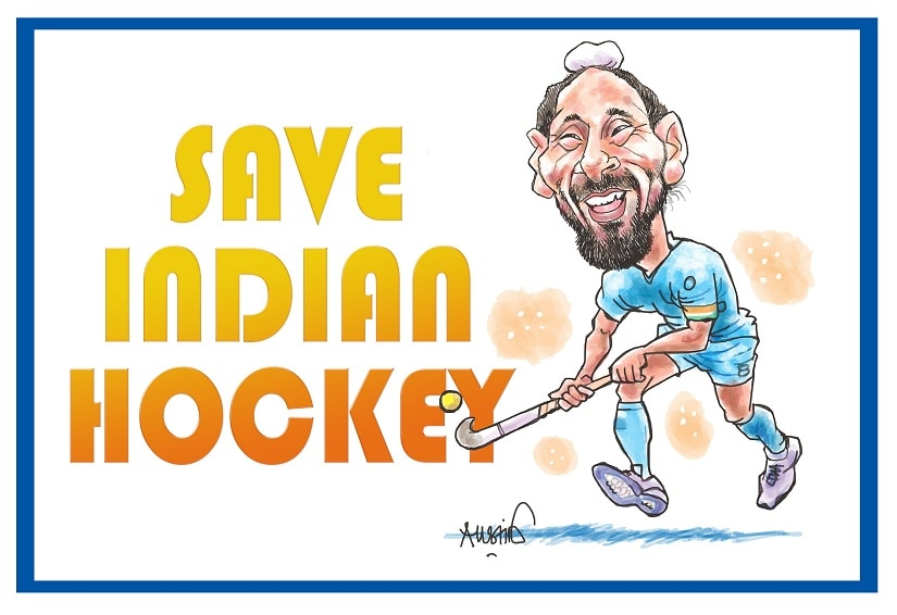 Indian hockey needs a dedicated movement to save it. Illustration courtesy Austin Coutinho