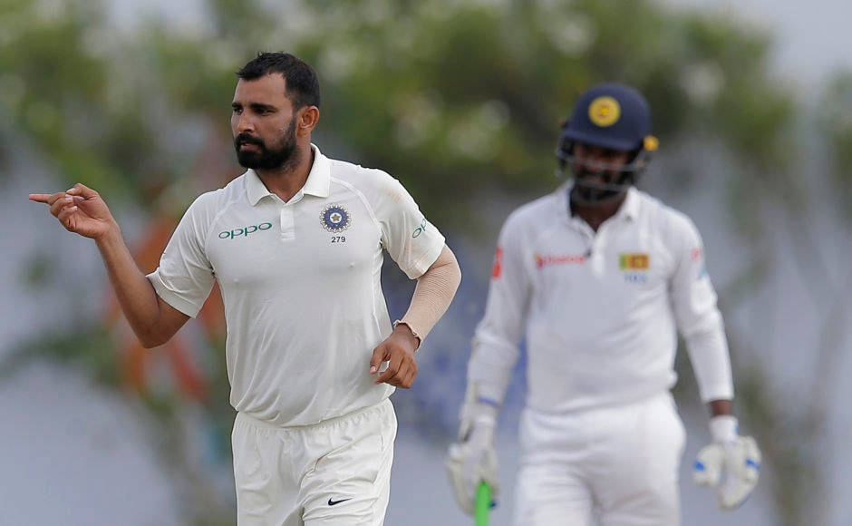 India's Mohammed Shami struck twice in the 15th over to peg Sri Lanka further back on Day 2. AP