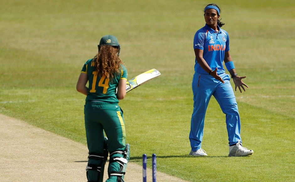 The start for India couldn't have been any more ideal as Shikha Pandey castled Laura Wolvaardt for 1. Reuters