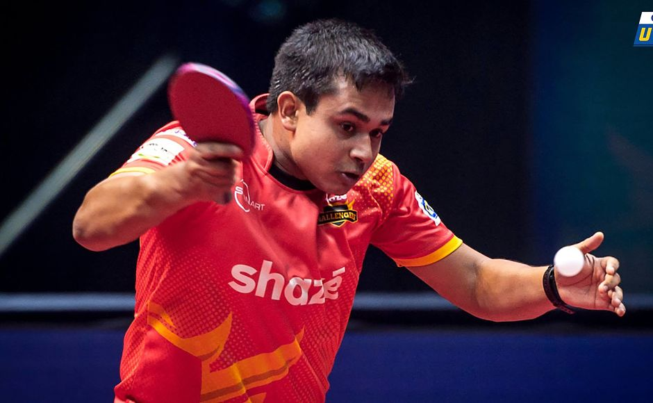 Soumyajit Ghosh won the Challengers' first match of the night against Stefan Fegerl. Image Courtesy: Facebook/UltimateTableTennis