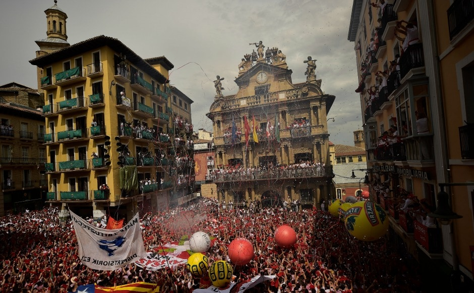 The famed San Fermin Running of the Bulls festival kicked off in Pamplona on Thursday with the launch of the traditional firework rocket known as the