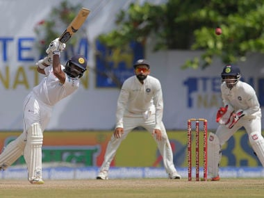 Sri Lanka's Niroshan Dickwella plays a shot during the fourth day's play. AP