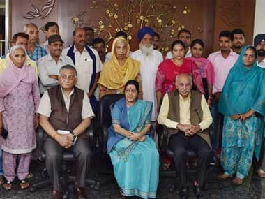 Sushma Swaraj meets the families of the missing Indians in Iraq. PTI