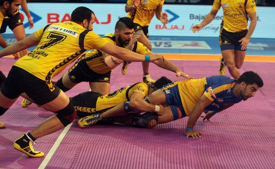 Telugu Titans took on Tamil Thalaivas in the opening match of the Pro Kabaddi League. Initially, the match looked balanced, with both teams at 3-3.<br />Image courtesy: www.prokabaddi.com