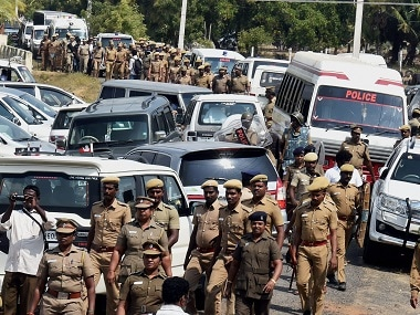 Chennai: Police Personnel at the resort in Koovathur in East Coast Road outskirts of Chennai on Tuesday. AIADMK General Secretary VK Sasikala staying there. The two-judge bench comprising Justices P C Ghose and Amitava Roy directed Sasikala and the two relatives to surrender immediately to the trial court in Bengaluru and serve the remaining part of four-year jail term. PTI Photo by R Senthil Kumar(PTI2_14_2017_000160B)