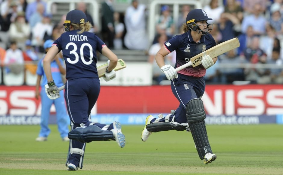 After India came back with 3 quick wickets, Sarah Taylor added 83 with Natalie Sciver to lead an England recovery. AP