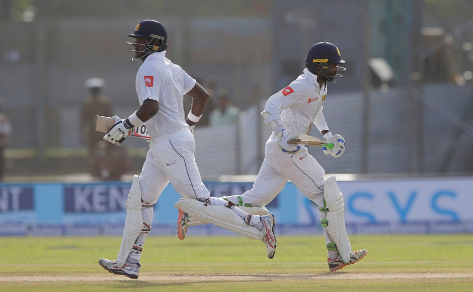 The experienced pair of Angelo Mathews and Upul Tharanga stitched together a 57-run stand. AP