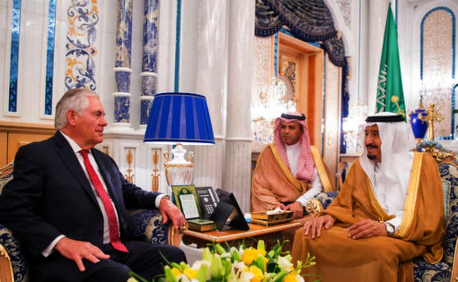 Tillerson met with Saudi foreign minister Adel al-Jubeir on arrival in the Red Sea city. AP