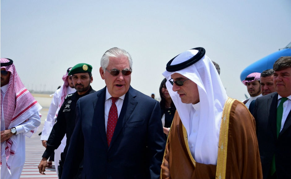 US Secretary of State Rex Tillerson met with his Saudi counterpart on Wednesday as he looks to end a rift between Qatar and four Arab states. PTI