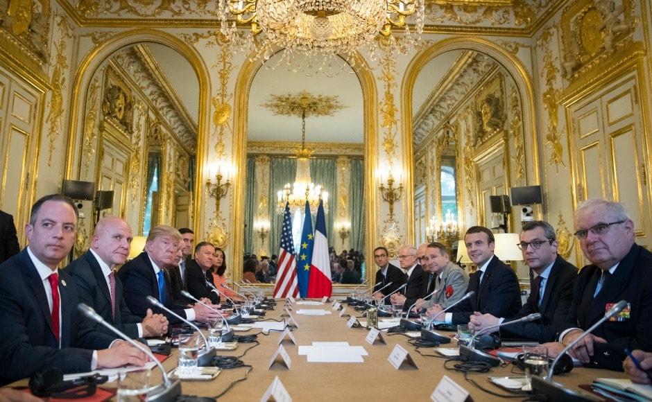 Trump and Macron also participated in an expanded bilateral meeting at the Elysee Palace in Paris. AP